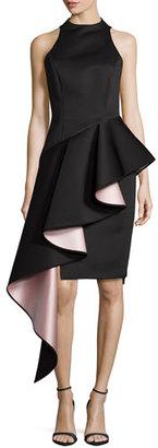 Milly Sleeveless Cascade Asymmetric Ruffle Dress, Black $825 thestylecure.com