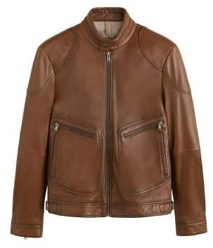 Mango man MANGO MAN Leather elbow-patch biker jacket