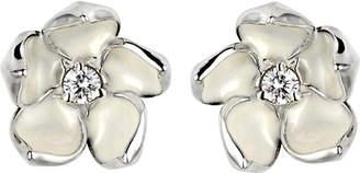 Shaun Leane Cherry Blossom silver, ivory enamel and diamond stud earrings large