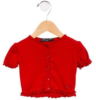 Blumarine Girls' Embellished Ruffle-Trimmed Cardigan