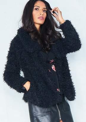 Missy Empire Missyempire Erin Black Wrap Faux Fur Coat