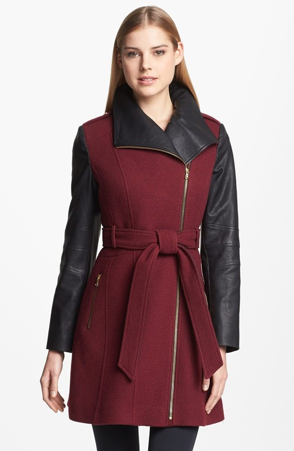 GUESS Asymmetrical Textured Wool Blend & Faux Leather Coat