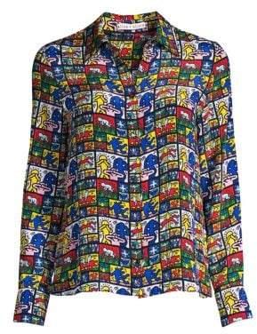Alice + Olivia Keith Haring X Willa Graphic Silk Button-Down Top