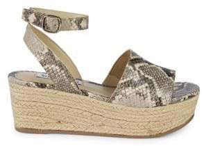 Steve Madden Snakeskin-Print Wedge Sandals
