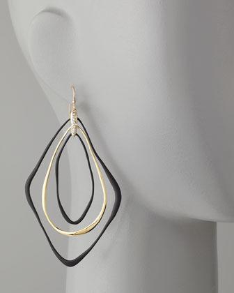 Alexis Bittar Liquid Orbiting Drop Earrings, Black/Golden