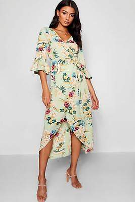boohoo NEW Womens Floral Woven Wrap Maxi Dress in Polyester