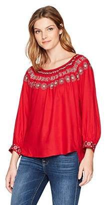 Velvet by Graham & Spencer Women's Eva Embroide Peasant Shirt