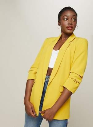 Miss Selfridge Yellow ruched sleeve blazer
