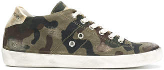 Leather Crown camouflage print sneakers