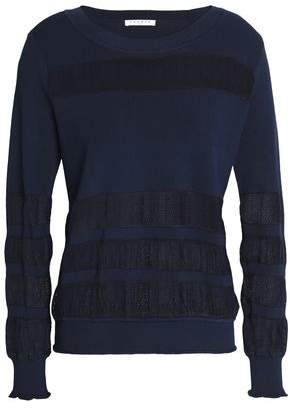 Sandro Vera Mesh-Paneled Stretch-Knit Sweater