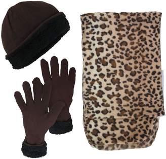 MaggShop Women's 3-Piece Hat, Gloves and Scarf Animal Print Winter Bundle
