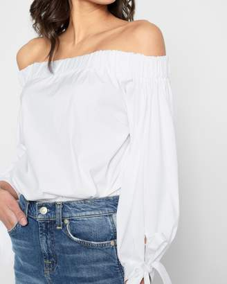 7 For All Mankind Off Shoulder Tie Top in White