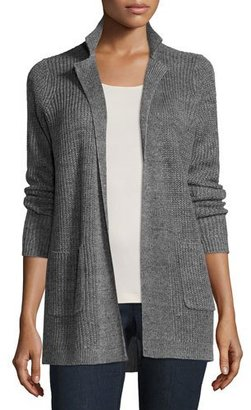 Eileen Fisher Rustic Organic Linen Speckle Cardigan, Ash $258 thestylecure.com