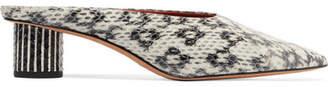 Diane von Furstenberg Nori Snake-effect Leather Mules - Snake print