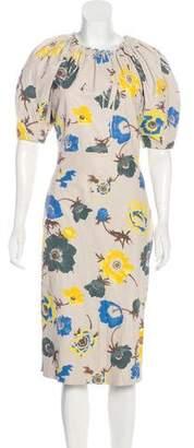Salvatore Ferragamo Floral Print Leather Dress