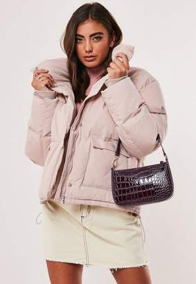 Missguided Baby Pink Puffer Jacket