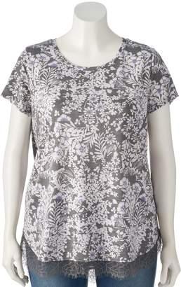Lauren Conrad Plus Size Lace-Trim Top