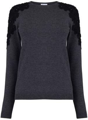 Warehouse Embellished Lace Trim Jumper