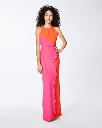 Nicole Miller X-back Ruffle Gown