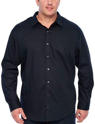 Van Heusen Easy Care Sateen Stripe Woven Mens Long Sleeve Stripe Button-Front Shirt Big and Tall