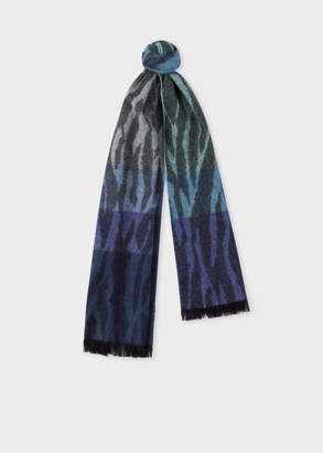 Paul Smith Women's Tonal Blue 'Tree Bark' Lambswool And Cashmere Scarf