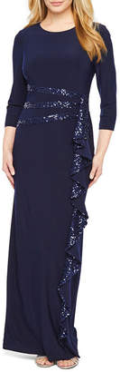 R & M Richards 3/4 Sleeve Evening Gown