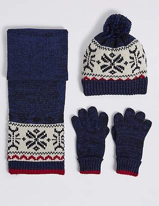 Marks and Spencer Kids' Fairisle Hat & Scarf with Gloves Set