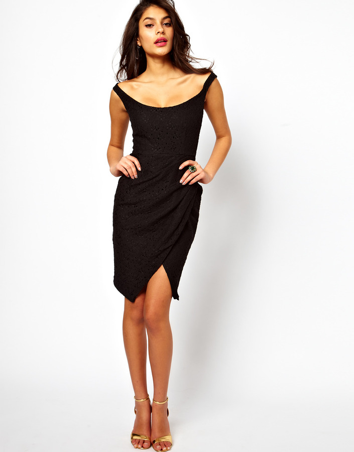 Asos Sexy Lace Structured Dress With Off Shoulder