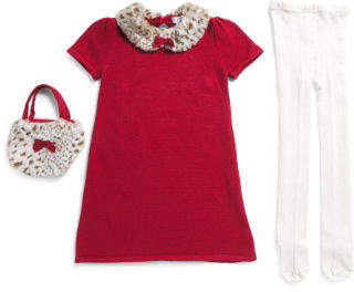 3pc Toddler Girls Sweater Dress And Tights With Purse Set
