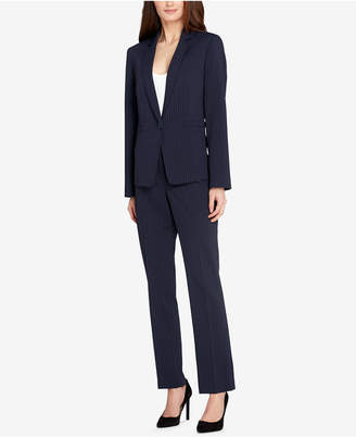 Tahari ASL Ticking-Stripe Single-Button Pantsuit