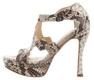 Alexandre Birman Python Platform Sandals