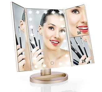Easehold Vanity Makeup 2X 3X Magnifiers 21 LED Lights Tri-Fold 180 Degree Adjustable Countertop Cosmetic Bathroom Mirror
