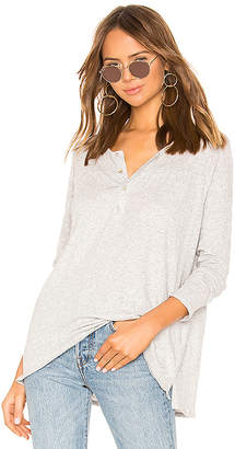 Chaser Long Sleeve Shirred Yoke Flouncy Henley