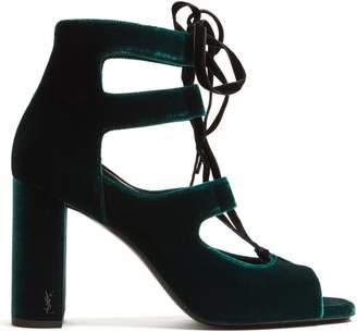 Saint Laurent Loulou lace-up velvet sandals