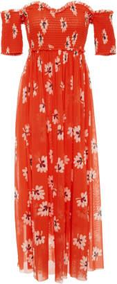 Ganni Tilden Floral Off The Shoulder Smocked Midi Dress