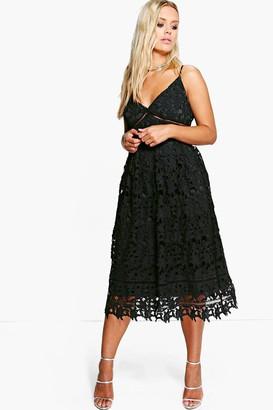 boohoo Plus Leila Applique V Neck Lace Skater Dress