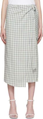 Tibi Green Elliot Check Wrap Skirt