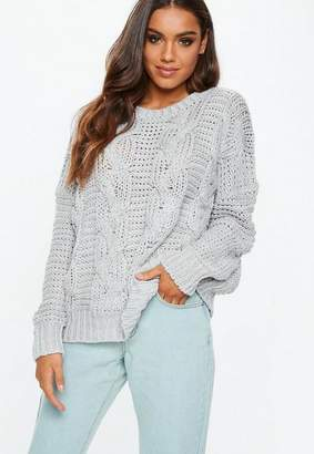 Missguided Grey Knit Boyfriend Sweater