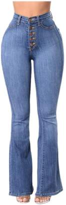 pujingge-CA Women's Bell Bottom High Waisted Fitted Flared Denim Pant XS