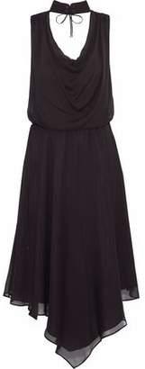Haute Hippie Twilight Lace-Up Draped Silk Crepe De Chine Dress
