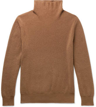 The Row Daniel Ribbed Cashmere Rollneck Sweater - Camel