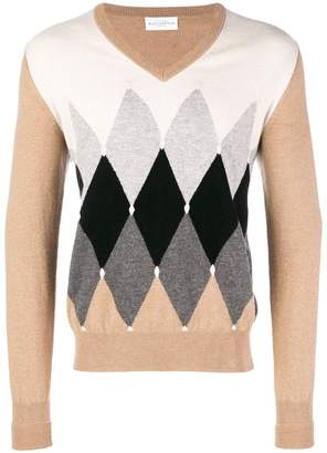 Ballantyne colour contrast V-neck sweater