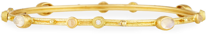 Armenta Armenta 18k Yellow Gold Rainbow Moonstone & Diamond Station Bangle