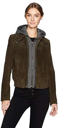 Bagatelle Women's Suede Aviator Jacket with Detachable French Terry Hoodie