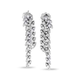 14k White Gold 1.63 Carat Natural Diamond Chandelier Marquise Style Earrings