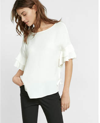 Express ruffle short dolman sleeve blouse $49.90 thestylecure.com