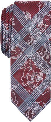 Penguin Men's Muliner Roses Skinny Floral Plaid Tie