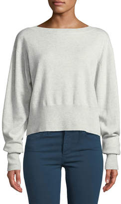 Autumn Cashmere Cropped Boxy Boat-Neck Cashmere Sweater