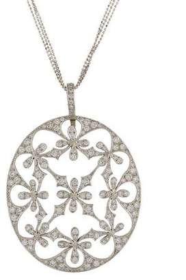 Cathy Waterman Platinum Diamond Lace Pendant Necklace