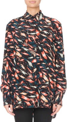 Givenchy Abstract Print Silk Button-Front Blouse
